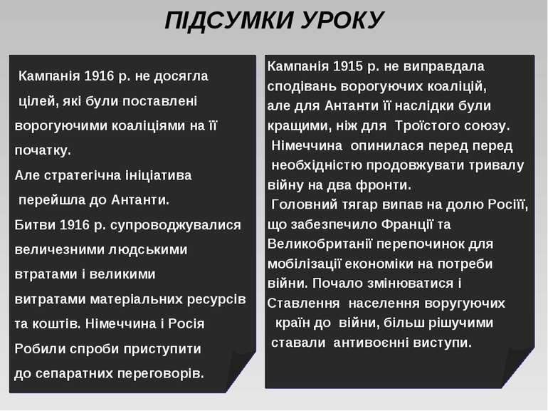 ПІДСУМКИ УРОКУ Кампанія 1915 р. не виправдала сподівань ворогуючих коаліцій, ...