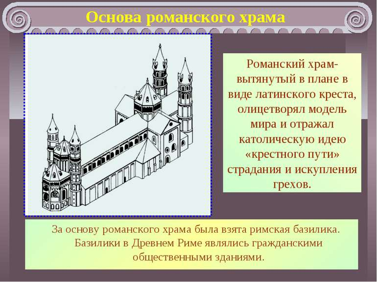 Основа романського храму Романський храм - витягнутий в плані у вигляді латин...
