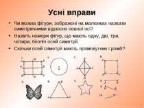 Усні вправи Чи можна фігури, зображені на малюнках назвати симетричними відно...