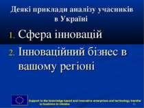 * Деякі приклади аналізу учасників в Україні Сфера інновацій Інноваційний біз...