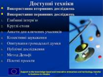 * Доступні техніки Використання вторинних досліджень Використання первинних д...