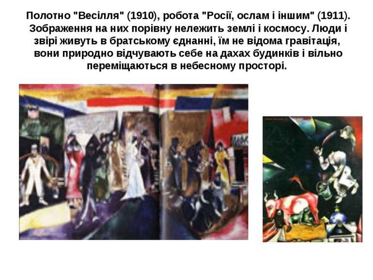 """Полотно """"Весілля"""" (1910), робота """"Росії, ослам і іншим"""" (1911). Зображення на..."""