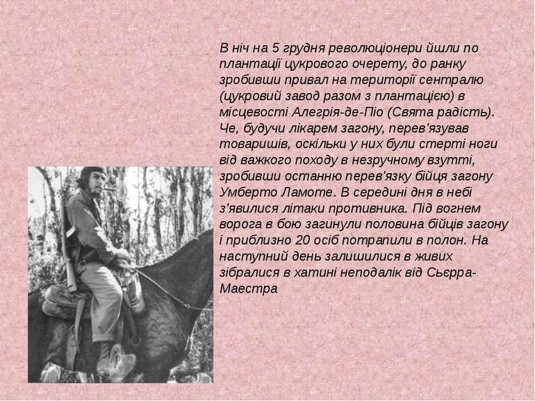 В ніч на 5 грудня революціонери йшли по плантації цукрового очерету, до ранку...
