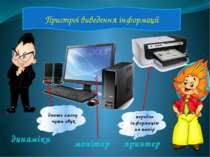 Пристрої виведення інформації монітор принтер динаміки дають змогу чути звук ...