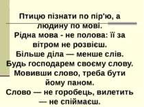 Прислів'я про мову Птицю пізнати по пір'ю, а людину по мові. Рідна мова - не ...