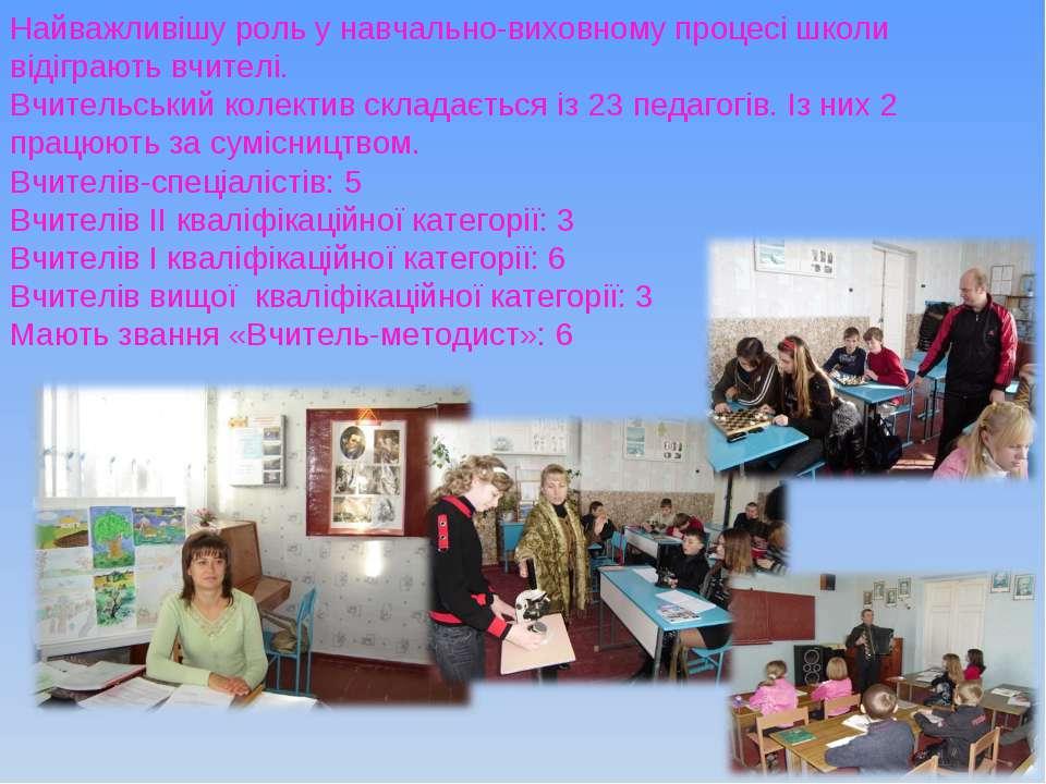 Найважливішу роль у навчально-виховному процесі школи відіграють вчителі. Вчи...