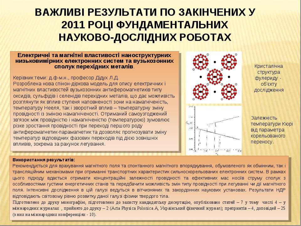Електричні та магнітні властивості наноструктурних низьковимірних електронних...