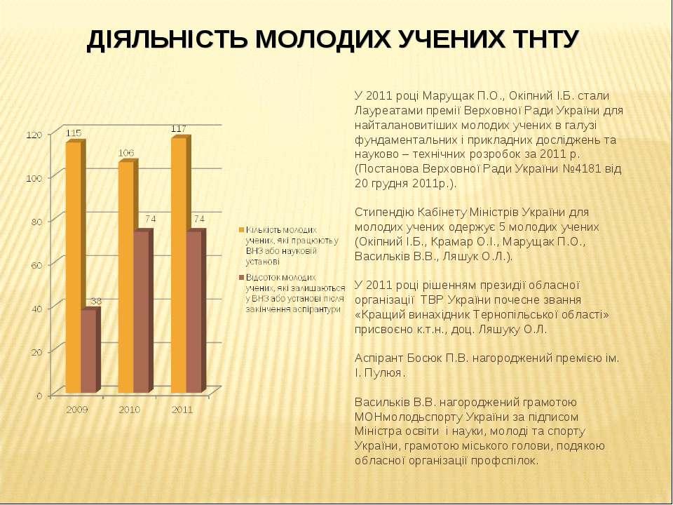 У 2011 році Марущак П.О., Окіпний І.Б. стали Лауреатами премії Верховної Ради...