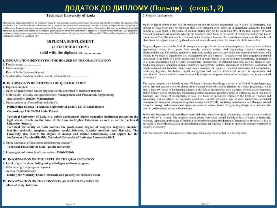 ДОДАТОК ДО ДИПЛОМУ (Польща) (стор.1, 2)