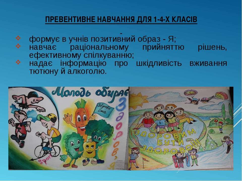 ПРЕВЕНТИВНЕ НАВЧАННЯ ДЛЯ 1-4-Х КЛАСІВ формує в учнів позитивний образ - Я; на...