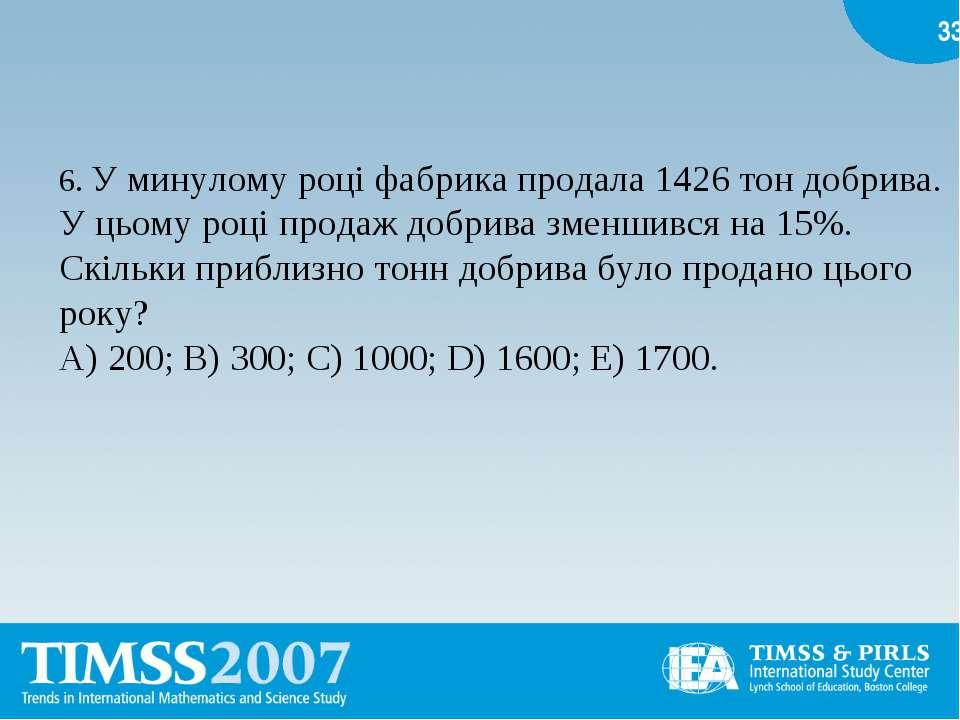 6. У минулому році фабрика продала 1426 тон добрива. У цьому році продаж добр...