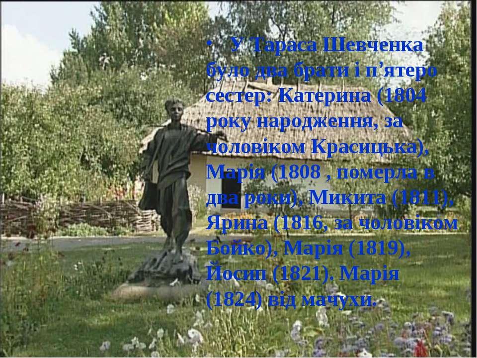 У Тараса Шевченка було два брати і п'ятеро сестер: Катерина (1804 року народж...