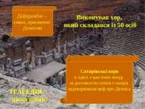 Діфірамби – гімни, присвячені Діонісові Виконував хор, який складався із 50 о...