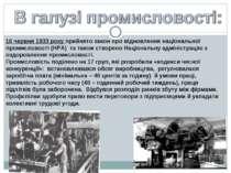 16 червня 1933 року прийнято закон про відновлення національної промисловості...