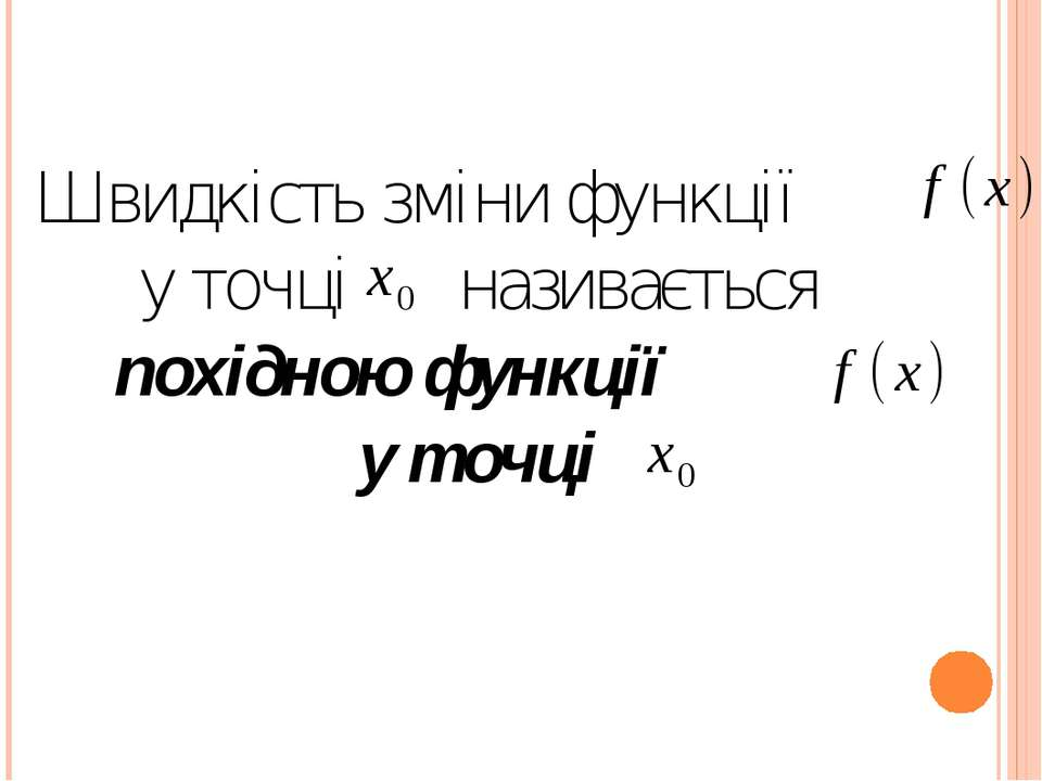 Швидкість зміни функції у точці називається похідною функції у точці