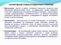 Основні функції соціально-педагогічного патронажу Діагностична – вивчає та оц...