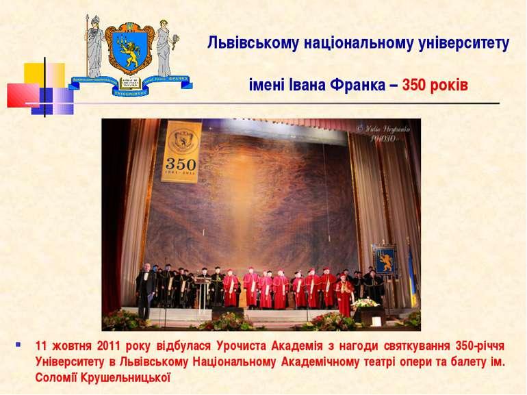 Львівському національному університету імені Івана Франка – 350 років 11 жовт...