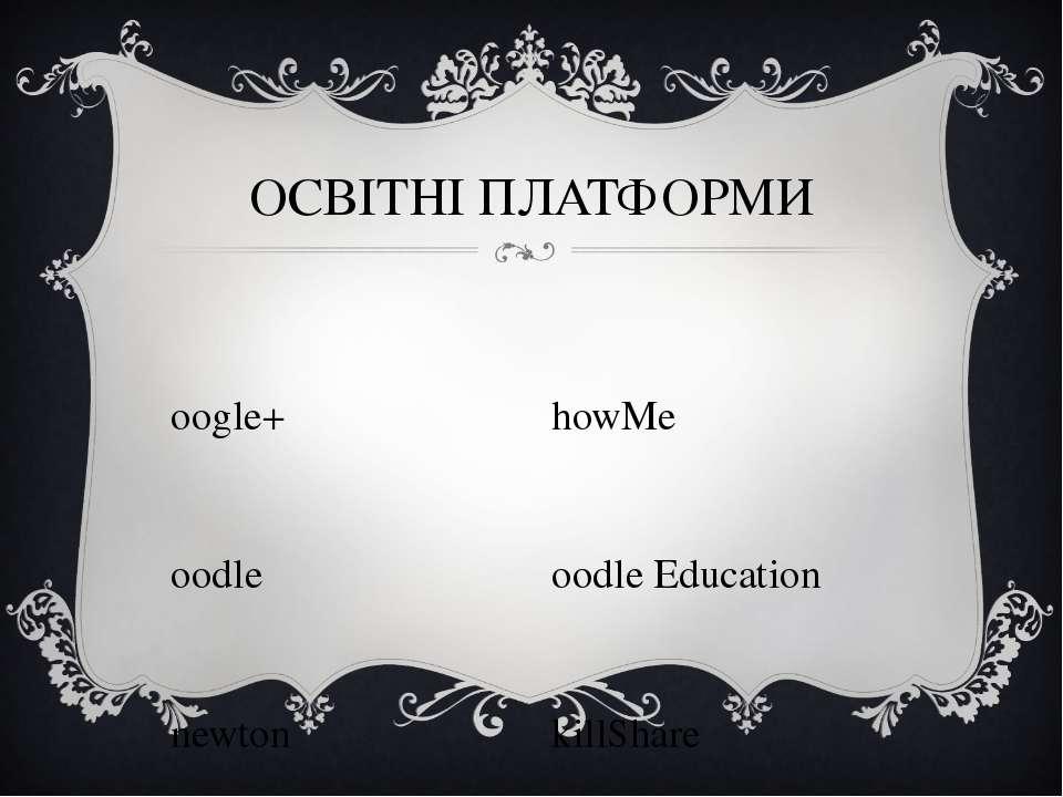 Google+ Moodle Knewton BetterLesson ОСВІТНІ ПЛАТФОРМИ ShowMe Noodle Education...