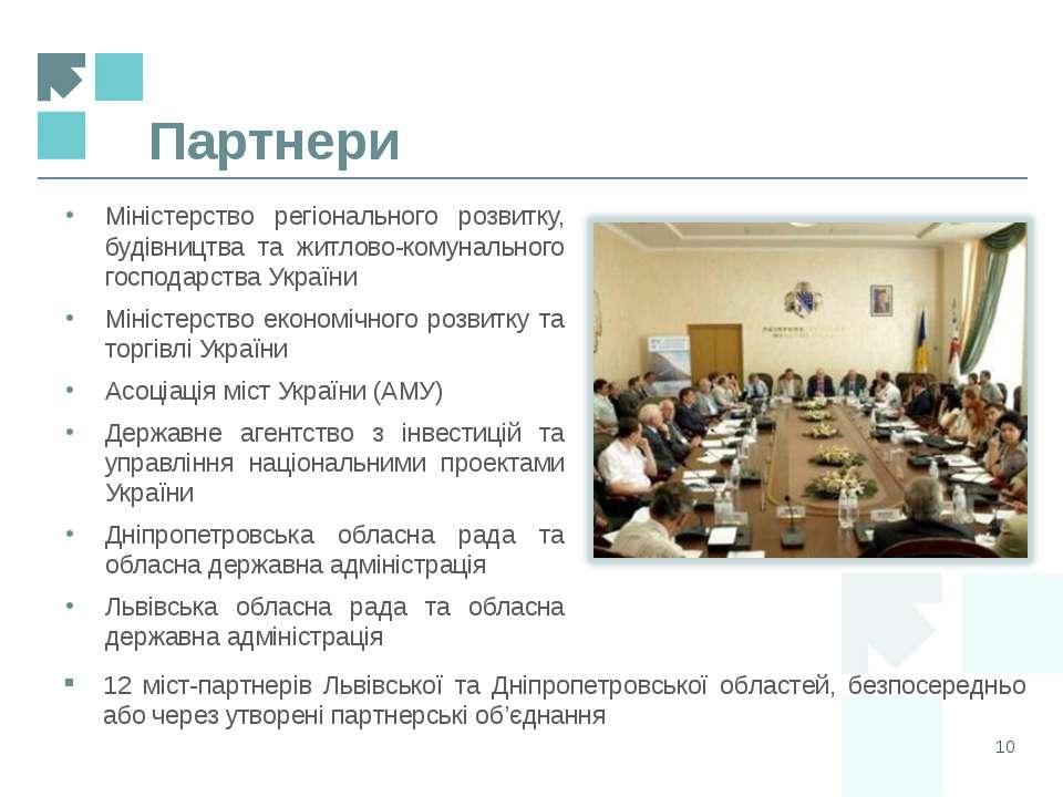 Партнери * Міністерство регіонального розвитку, будівництва та житлово-комуна...