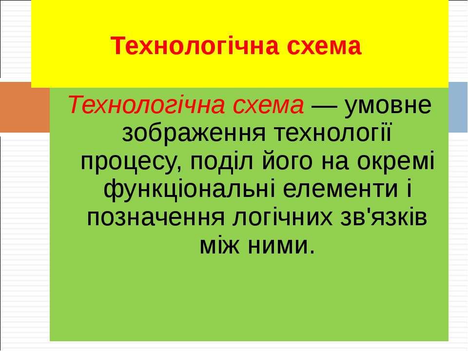 Технологічна схема Технологічна схема — умовне зображення технології процесу,...