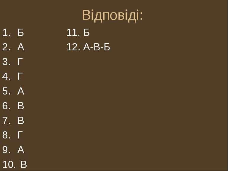 Відповіді: Б 11. Б А 12. А-В-Б Г Г А В В Г А В