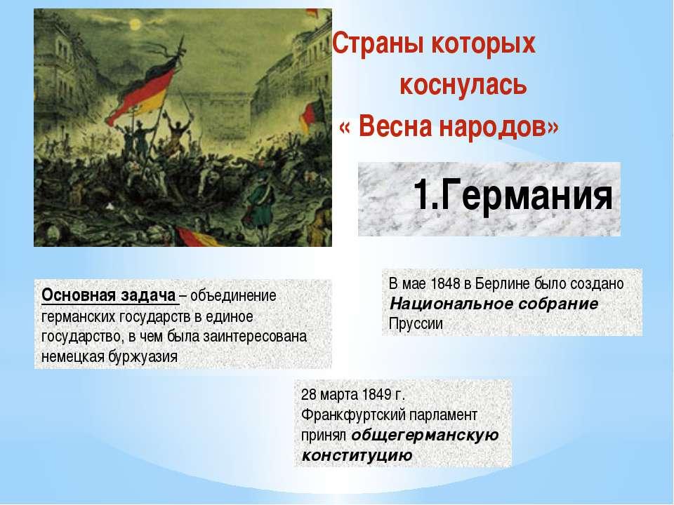 1.Німеччина Країни яких торкнулася « Весна народів» Основне завдання - об'єдн...