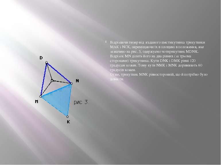 Відрізаючи тепер від згаданого шестикутника трикутники МАК і NСК, переміщаючи...