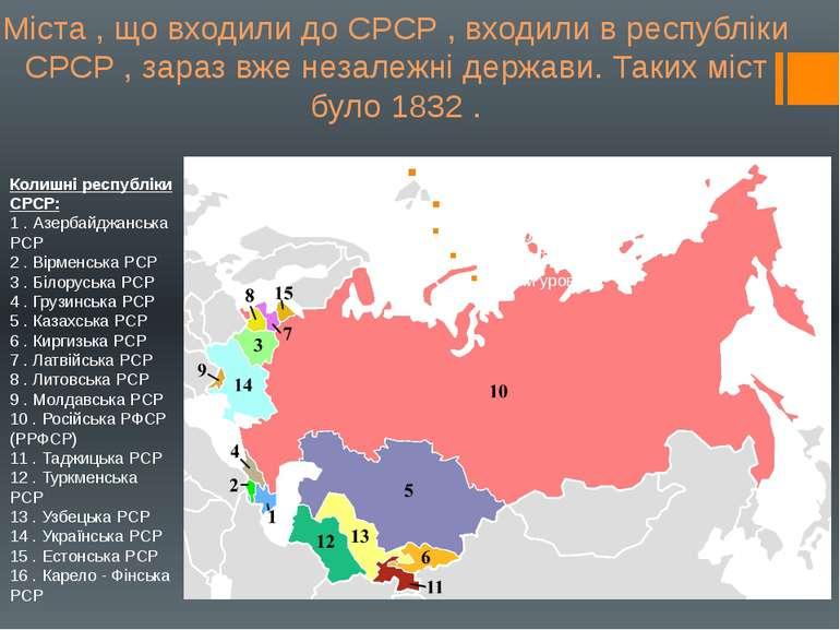 Колишні республіки СРСР: 1 . Азербайджанська РСР 2 . Вірменська РСР 3 . Білор...