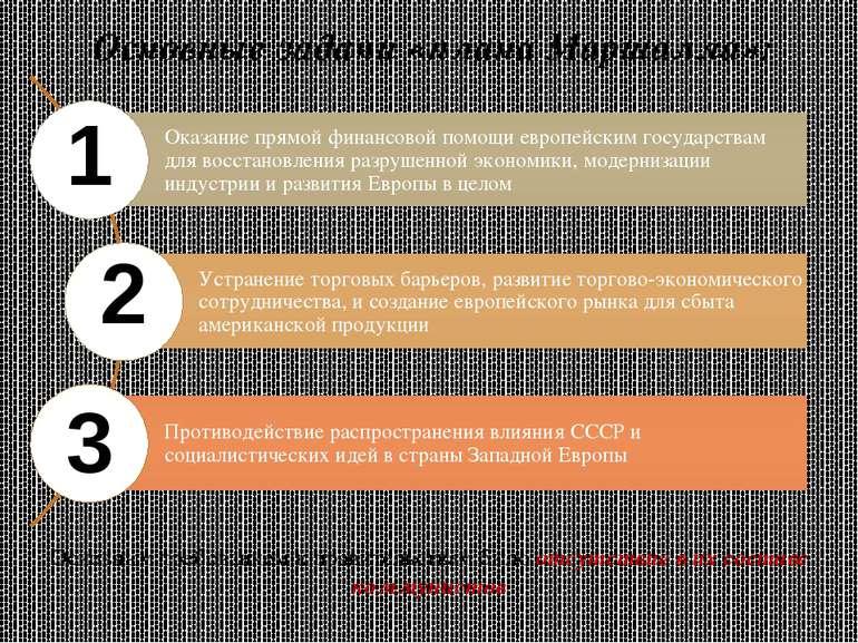 Основные задачи «плана Маршалла»: 1 2 3 Основным требованием к правительствам...