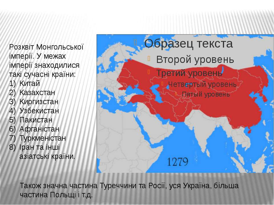 Розквіт Монгольської імперії. У межах імперії знаходилися такі сучасні країни...