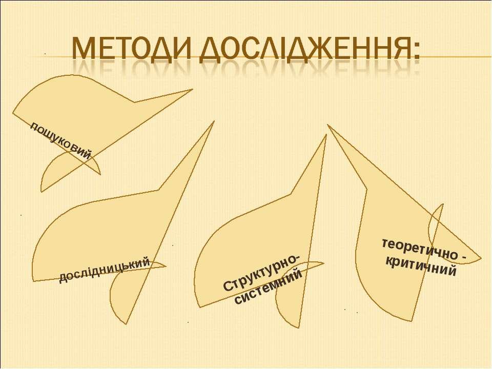 пошуковий дослідницький Структурно- системний теоретично - критичний