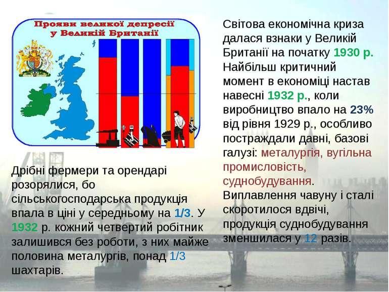 Світова економічна криза далася взнаки у Великій Британії на початку 1930 р. ...