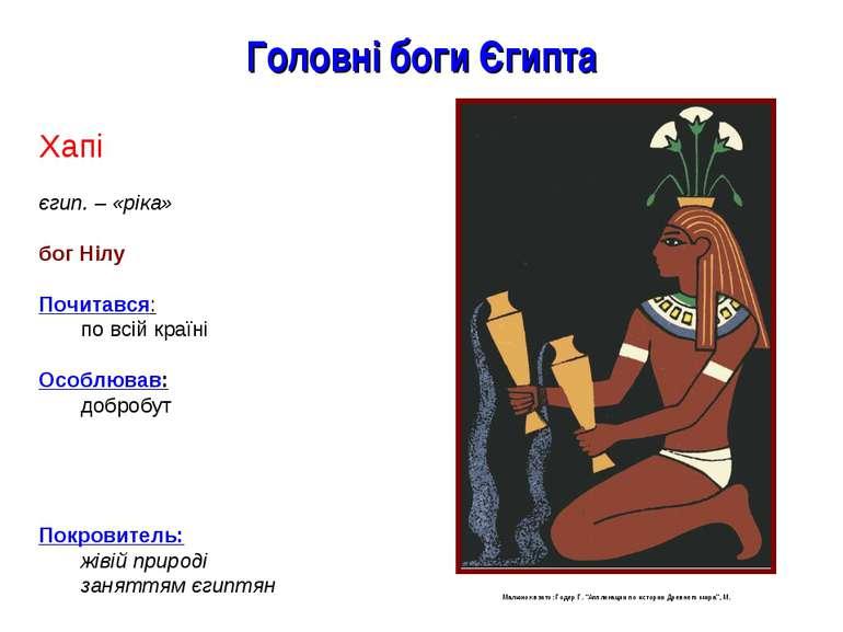 Головні боги Єгипта Хапі єгип. – «ріка» бог Нілу Почитався: по всій країні Ос...