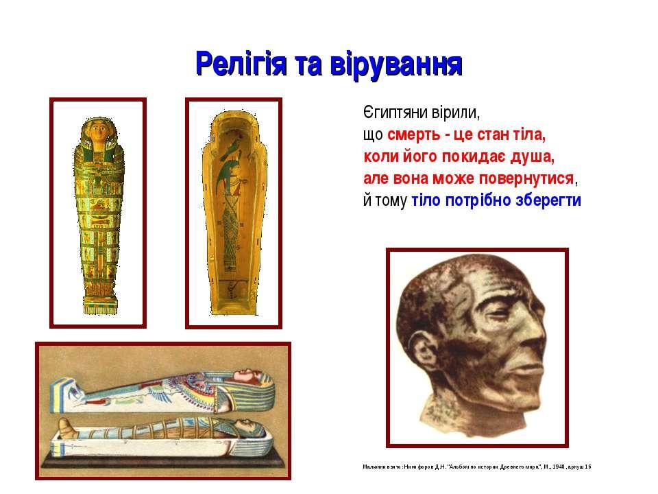 Релігія та вірування Єгиптяни вірили, що смерть - це стан тіла, коли його пок...