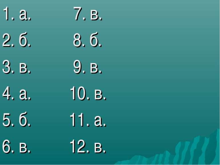 1. а. 7. в. 2. б. 8. б. 3. в. 9. в. 4. а. 10. в. 5. б. 11. а. 6. в. 12. в.