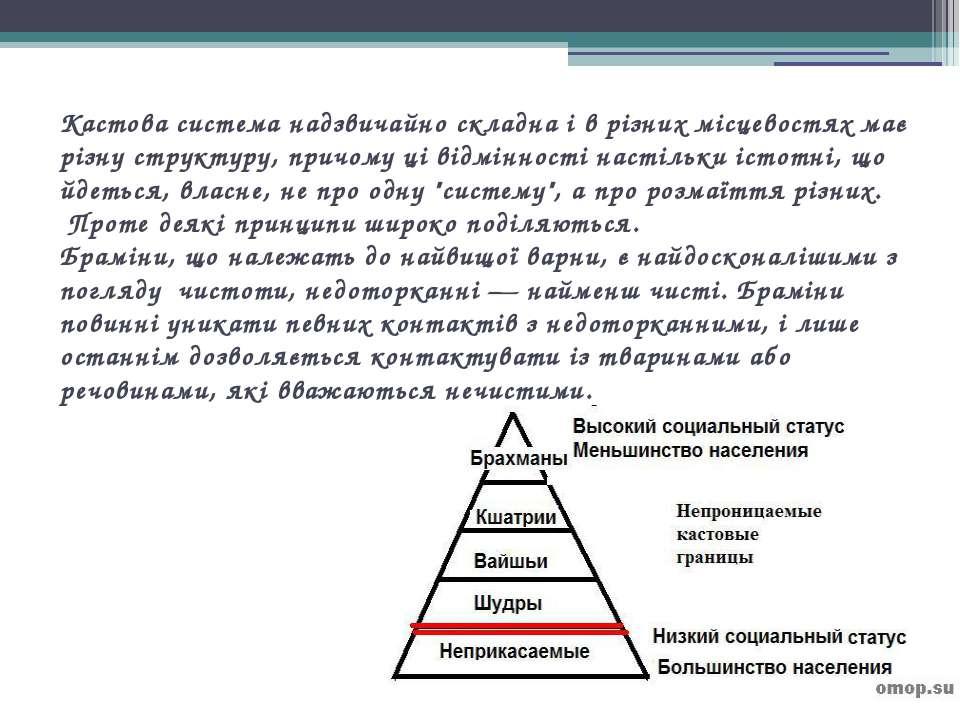 Кастова система надзвичайно складна і в різних місцевостях має різну структур...