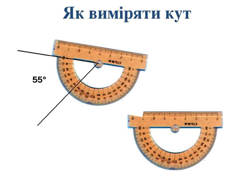 Як виміряти кут 55° Формирование совместно с учащимися на основе предыдущих и...