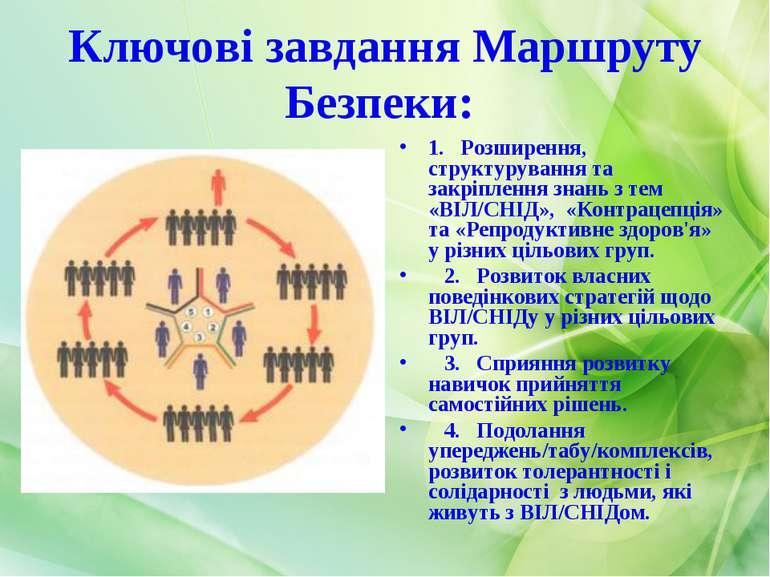 Ключові завдання Маршруту Безпеки: 1. Розширення, структурування та закріплен...