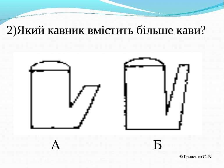2)Який кавник вмістить більше кави? А Б Гриненко С. В.