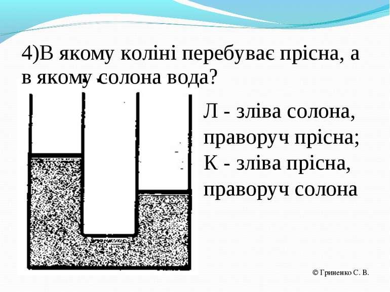 4)В якому коліні перебуває прісна, а в якому солона вода? Л - зліва солона, п...