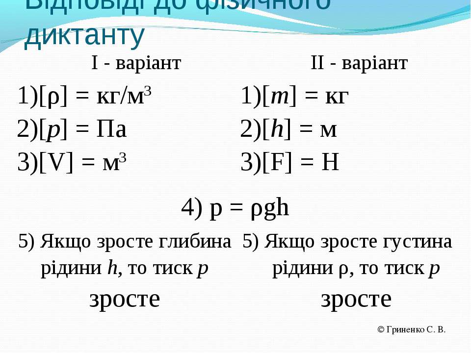 Відповіді до фізичного диктанту І - варіант ІІ - варіант [ρ] = кг/м3 [p] = Па...