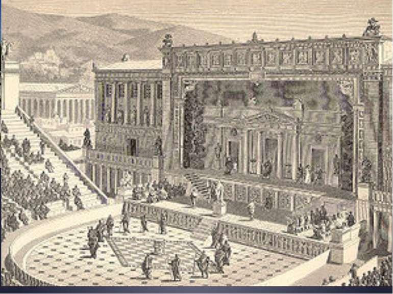 Розмір театру визначався діаметром орхестри (від 11 до 30 м). Скена розташову...