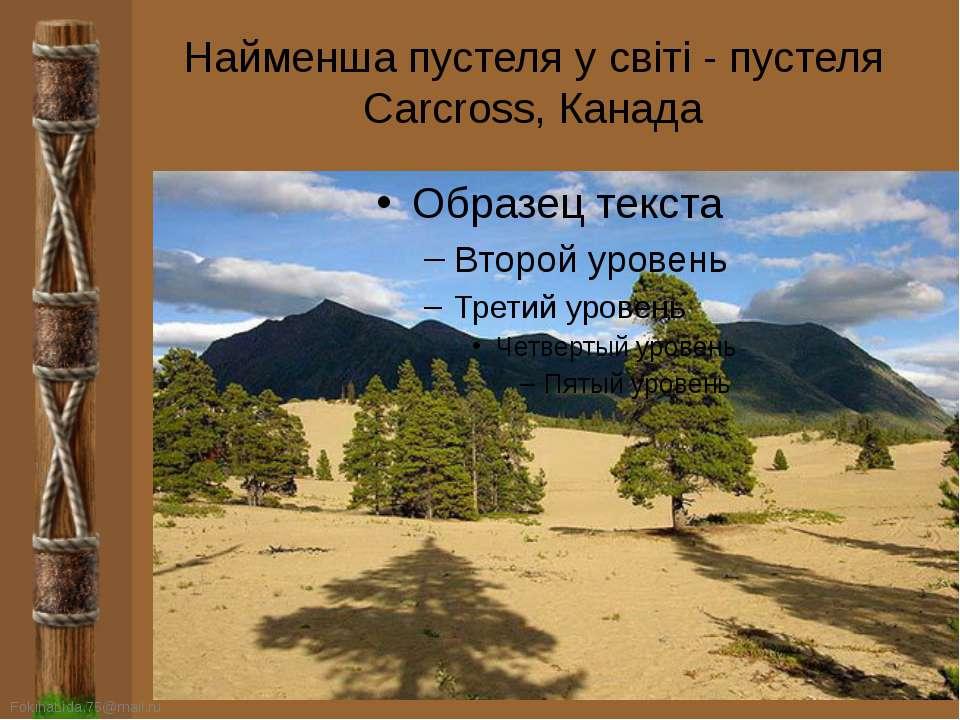 Найменша пустеля у світі - пустеля Carcross, Канада FokinaLida.75@mail.ru