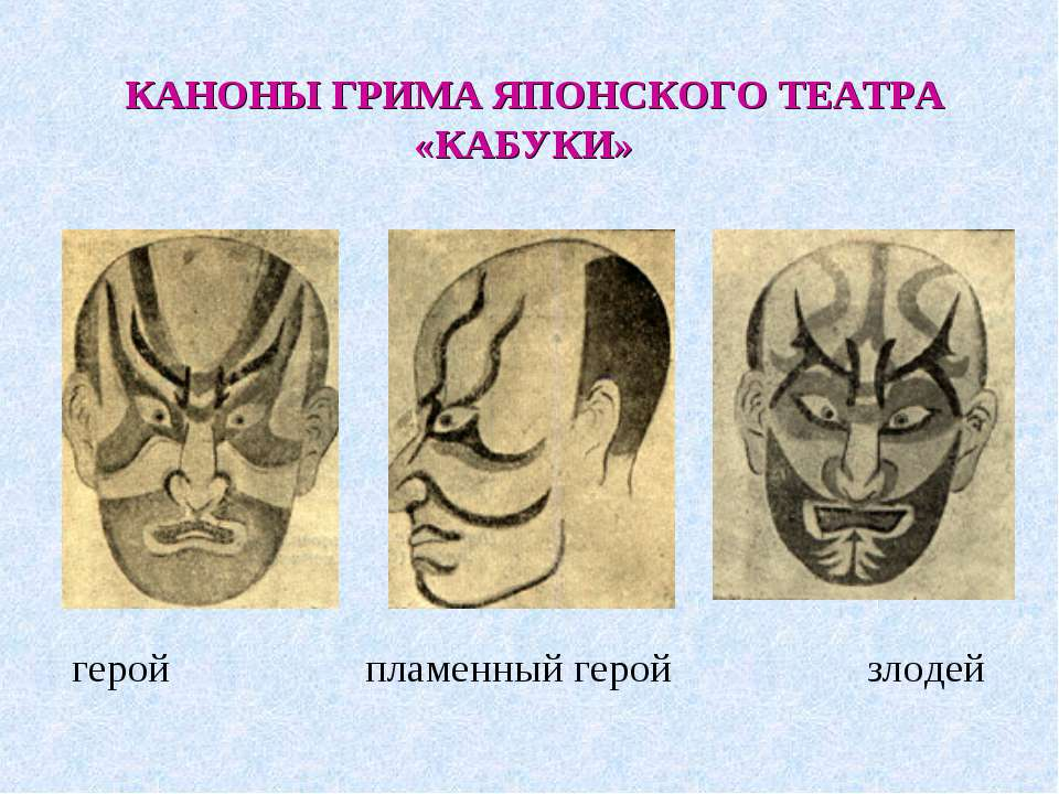 КАНОНЫ ГРИМА ЯПОНСКОГО ТЕАТРА «КАБУКИ» герой пламенный герой злодей