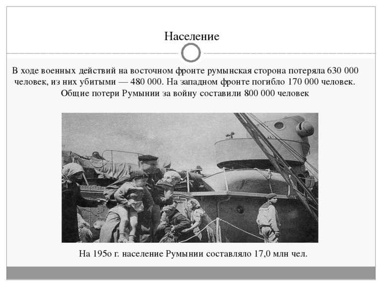 Население На 195ог. население Румынии составляло 17,0млн чел. В ходе военны...