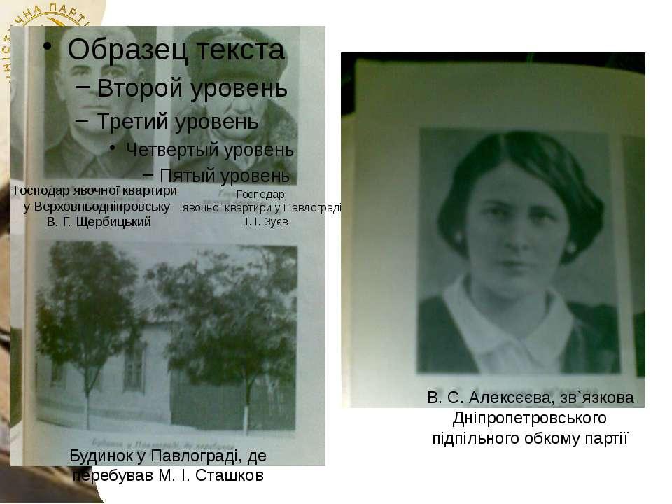 Господар явочної квартири у Верховньодніпровську В. Г. Щербицький Господар яв...