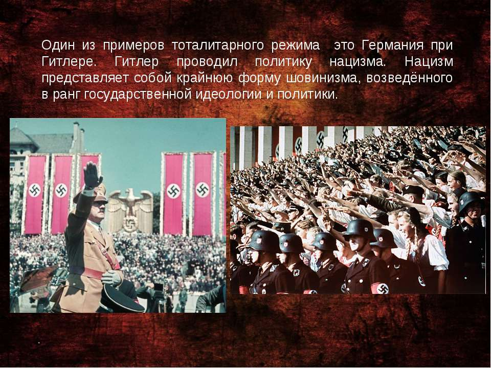 Один из примеров тоталитарного режима это Германия при Гитлере. Гитлер провод...