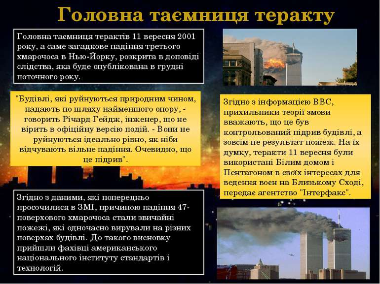 Головна таємниця теракту Головна таємниця терактів 11 вересня 2001 року, а са...
