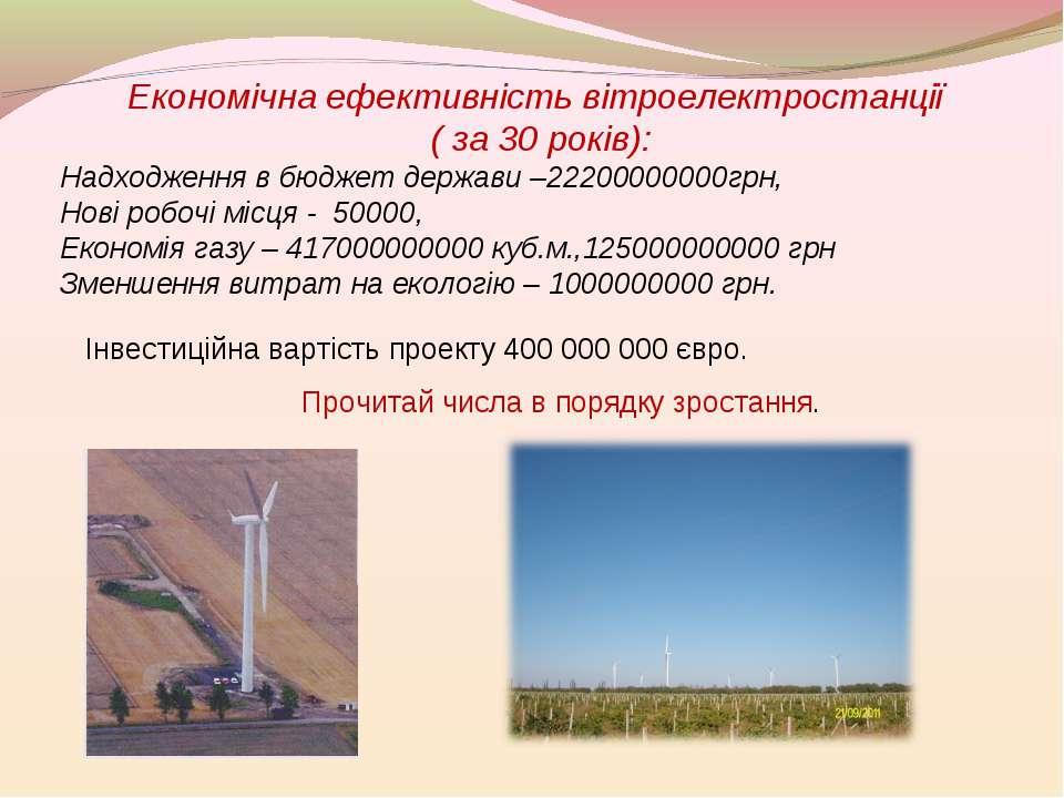Економічна ефективність вітроелектростанції ( за 30 років): Надходження в бюд...