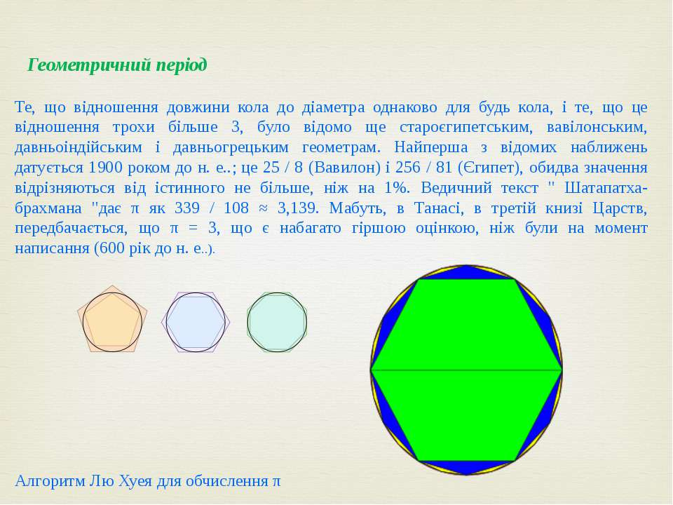 Геометричний період Те, що відношення довжини кола до діаметра однаково для б...